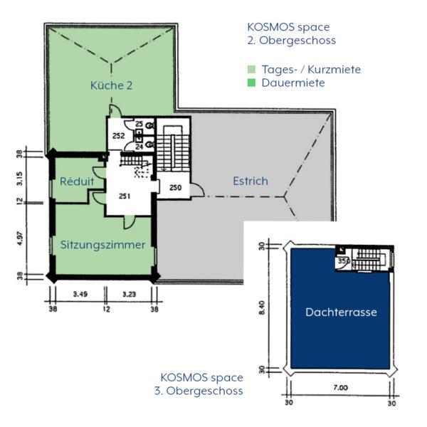 KOSMOS space   Räume zur Tages- / Kurzmiete   Dachterrasse